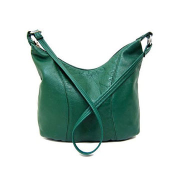 80s Green Leather Purse Cross Body Bag Across Shoulder Bag Slouchy Bag Supple Boho Slouch Bag Vintage Hipster Medium Sized Purse