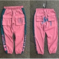Stussy Couple models multi-pocket light and thin sports loose version of men and women's pants sports casual trousers Pink
