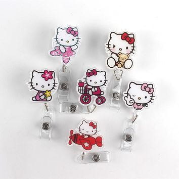 6Pcs/lot Acrylic lovely Cartoon Cat Retractable Badge Reel Best selling Bus card student nurse ID Name Card Badge Holder Office