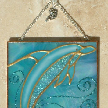 Artisan Made Dolphin Decor Stained Glass Panel Suncatcher Ocean Seaside Beach Theme Wall Hanging Art Glass Ornament Dolphin Lover Gift