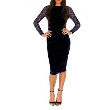 HALIFE Women O-Neck Sexy Lace Dress Long Sleeve High Waist Sheer Back Robe Vintage Party Bodycon Pencil Midi Velvet Dress S4