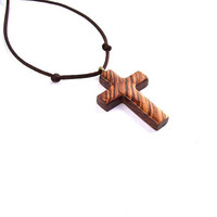 Men Cross Necklace, Wooden Cross Necklace, Wood Cross Pendant, Wood Pendant, Wood Jewelry, Hand Carved Cross, Christian Jewelry, Wood Cross