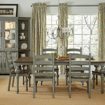 Colonnades Transitional Rectangular Dining Table Putty/Oak