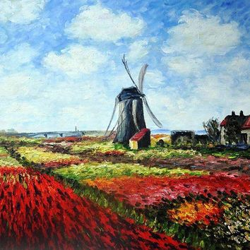 Handmade Oil Painting Replicas Tulip Field with the Rijnsburg Windmill by Claude Monet Canvas Wall Painting Home Decor