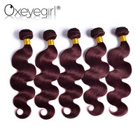 "Oxeye girl Burgundy Brazilian Hair Weave Bundles Body Wave Human Hair Bundles 10""-24"" 99J Red Hair Non Remy Hair Extensions 1 PC"