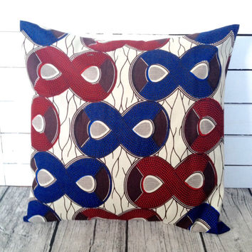 Throw-cushion cover, Infinity African wax print, Scatter cushion,  (17 inch) Blue Red decorative pillow