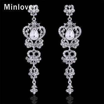 Minlover Austrian Crystal Platinum Plated Chandelier  Earrings Bridal Long Drop Wedding Earrings for Women EH163
