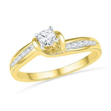 10kt Yellow Gold Women's Round Diamond Solitaire Bridal Wedding Engagement Ring 1/3 Cttw - FREE Shipping (US/CAN)