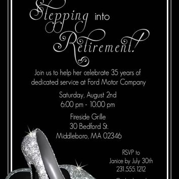 Silver Glitter Shoes Retirement Invitation