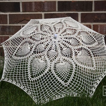 "30""  Ivory cream Lace Pineapple Crochet UMBRELLA PARASOL, Valentines Day Wedding- Made to Order"