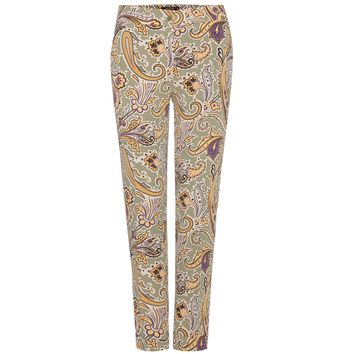 etro - printed stretch-crepe straight-leg trousers