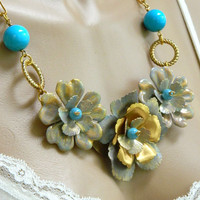 Gold Flower Blue Gemstone Necklace Handcrafted Statement Short Chain