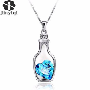 Love in a Bottle!  New Silver color Jewelry Bottle Heart Shape Cubic Zircon Statement Necklace & Pendants Crystal Collares for Women Gift