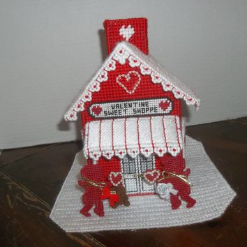 valentine's day sweet shoppe house plastic canvas boutique tissue box cover
