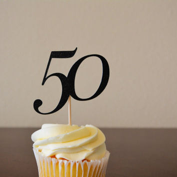 Milestone Birthday Black Glitter Cupcake Topper & Wrapper - Set of 8