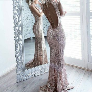 Sweet Caroline Open-Back Sequin Maxi Dress