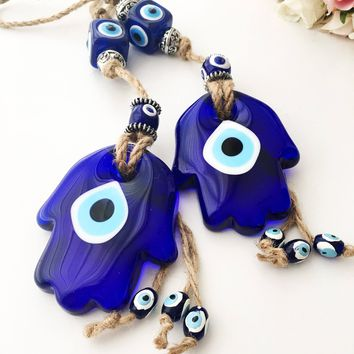 Hamsa wall hanging, hamsa wall art, glass evil eye wal hanging, turkish evil eye, evil eye decor