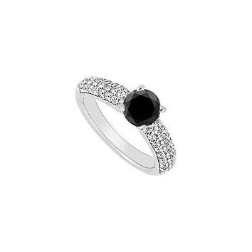 14K White Gold : Black and White Diamond Engagement Ring 1.10 CT TDW