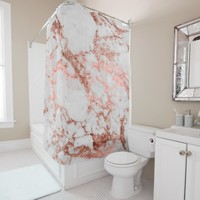 Modern faux rose gold glitter marble texture image shower curtain