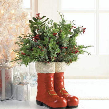 Santa Red Boots Decorative Vase