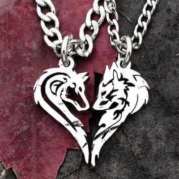 Two Wolves making a Heart, necklace