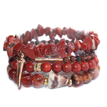Mahogany Gemstone Stretchy Beaded Charm Bracelet Stack
