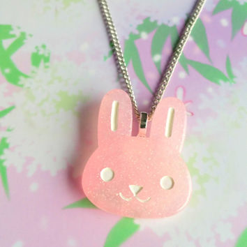 Kawaii bunny necklace, pastel pink rabbit pendant, Fairy kei jewelry - sweet lolita - pastel goth - cute resin necklace