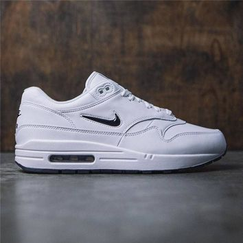 Nike Air Max 1 Premium SC  White With Small Hook Women Men Sneakers Black Hook