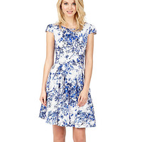 WONDERLAND FLORAL DRESS BLUE-WHITE