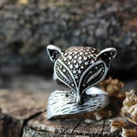 Antique Fox Ring Women's Girl's Retro Burnished Animal Ring Jewelry Size 5 Knuckle Ring gift idea