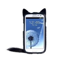 Wisedeal IKASEFU 3D Cute Cartoon Plush Fluffy Tail Cat Animal Design Protective Skin Case Cover for Samsung Galaxy S3 III I9300 (Black)