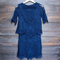 cara backless vintage inspired navy dress by SAYLOR