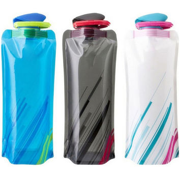 700ml fashion folding Water Bottle Outdoor Camping Mountaineering Tourism Hiking Drinking Water Kettle AA