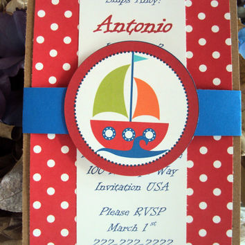 Nautical Birthday Invitation, Sailing Birthday Invitation, Ahoy Birthday invitation, Childrens Birthday invitations