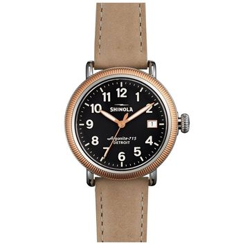 Ladies' Shinola 'The Runwell' Coin Edge Leather Strap Charcoal Dial...