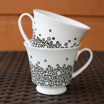 White Teacup with Black Confetti Dots Design - Set of 2
