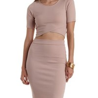 Tan Wrapped Hem Open Back Crop Top by Charlotte Russe