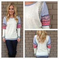 Grey Embroider Patch and Stonework Sweater
