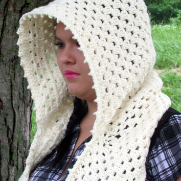 Cream Hooded Cowl, Scoodie, Crochet Hood, Hooded Scarf, Pixie Hood, Hippie, Boho, Festival Hood