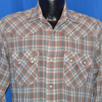 80s Levis Brown Plaid Western Pearl Snap Cowboy Shirt  Medium
