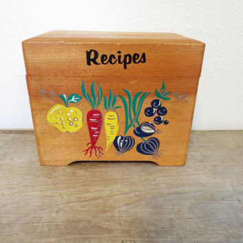 Vintage Recipe Box / Retro Recipe Box / Wood Recipe Box / Retro Kitchen / Recipe Storage / Vintage Kitchen Storage