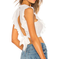 About Us Taylor Ruffle Top in White | REVOLVE