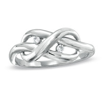 Diamond Accent Infinity Knot Ring in Sterling Silver - View All Rings - Zales