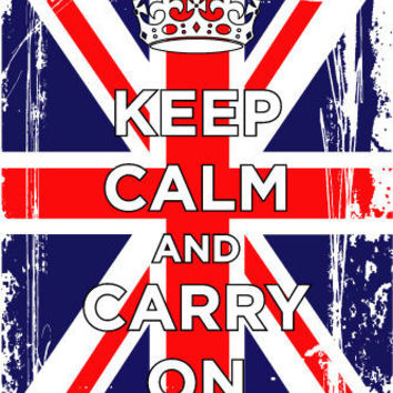 KEEP CALM AND CARRY ON BRITISH FLAG CROWN poster political WW2 London 24X36 -PY1