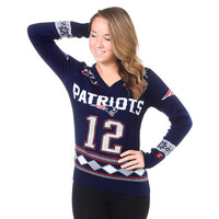 New England Patriots Tom Brady V-Neck Glitter Sweater by Klew (Will Ship Middle Of November)