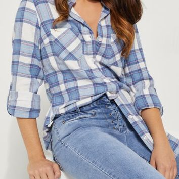 Blue & Pink Flannel Lace Top