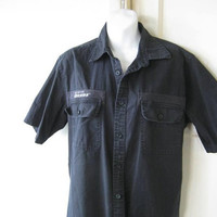 Short-Sleeved Black Dickies Work Shirt; Men's Large, Substantial Cotton Shirt; Classic Mechanic/Workman/Shop Shirt; U.S. Shipping Included