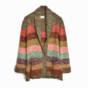 Vintage 70s Shawl Collar Cardigan Sweater in Greens, Browns & Corals - women's small