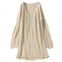 Hollow Korean Style Women V-neck Knitting Cotton Beige One Size Sweater @JYF5506be