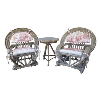 Pre-owned Toile Upholstered Willow Furniture  - 3 Piece Set